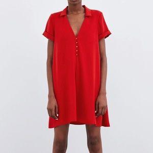 ZARA Women's Buttoned Dress(Red, US M/EUR M)